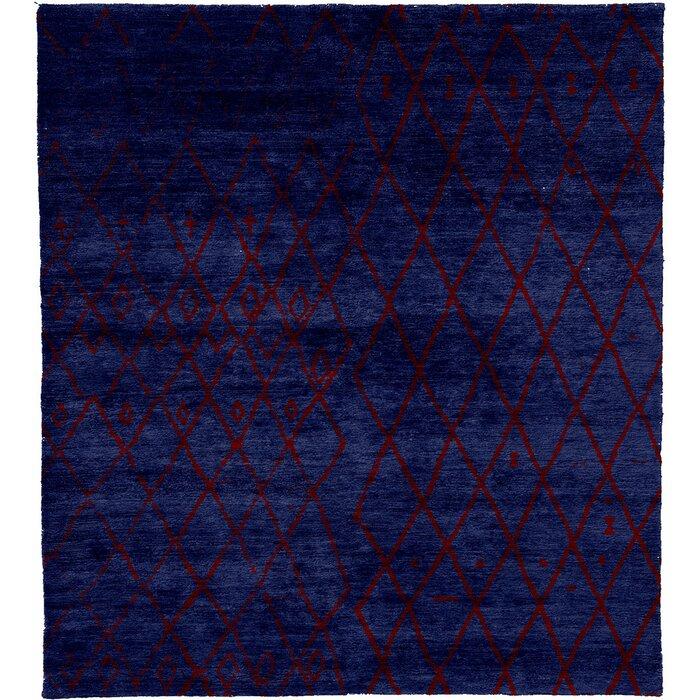 Brayden Studio One Of A Kind Nunes Meningie A Hand Knotted 12 X 18 Wool Blue Area Rug Wayfair