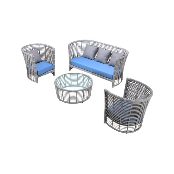 Chidi 4 Piece Sofa Set with Cushions by Bungalow Rose