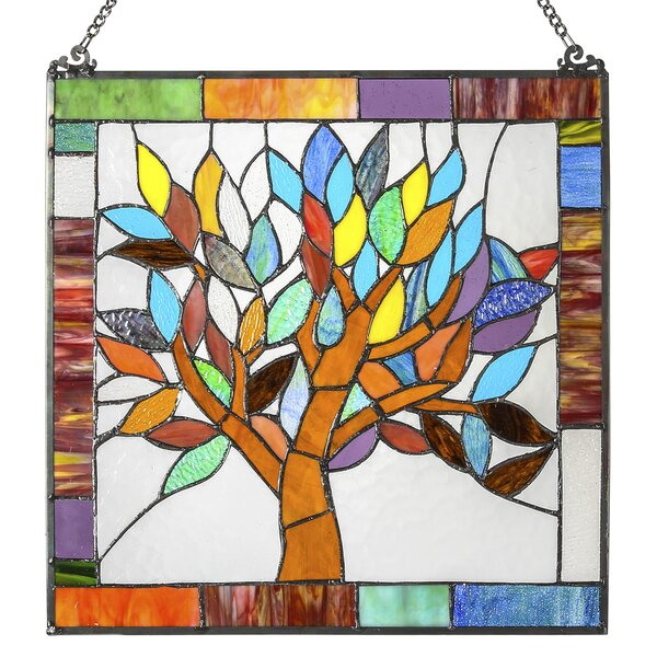 Mystical World Tree Tiffany Style Stained Glass Window Panel by Fleur De Lis Living