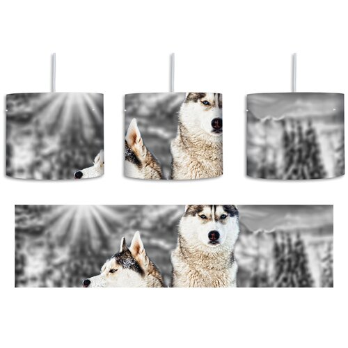 Two Wild Huskies 1-Light Drum Pendant East Urban Home Shade