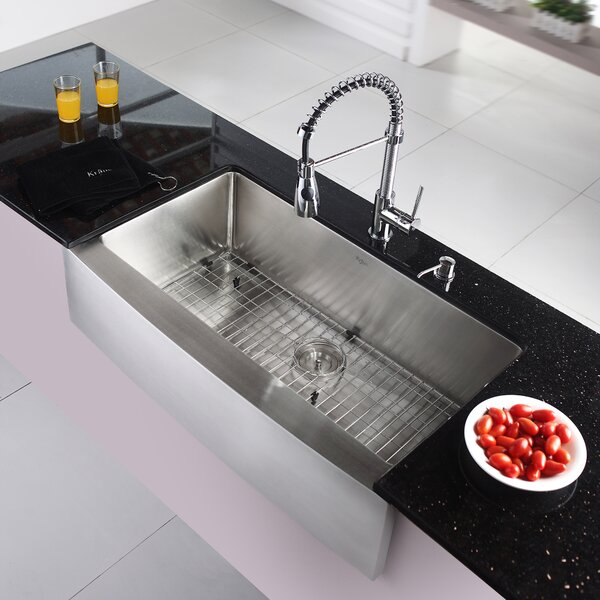 36 L x 21 W Farmhouse Kitchen Sink with Faucet and Soap Dispenser by Kraus