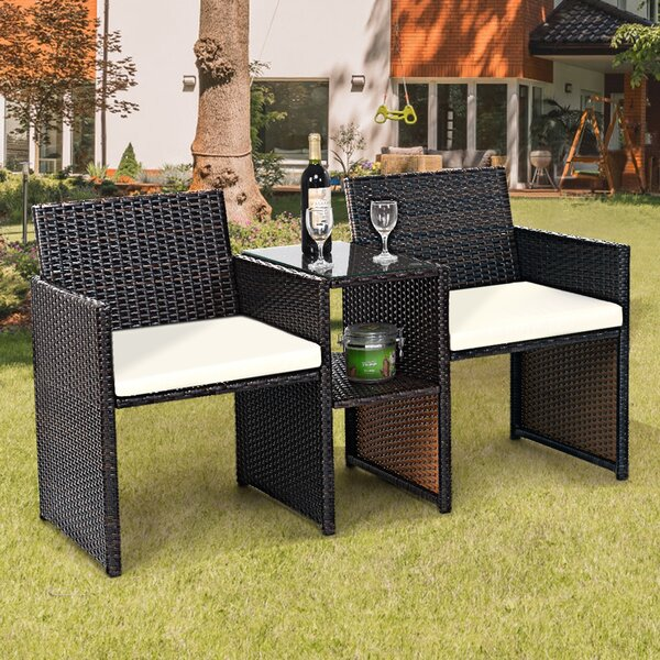 Guillermina Patio 3 Piece Rattan Seating Group with Cushions by Latitude Run