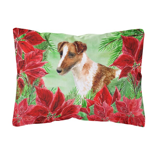 Osgood Smooth Fox Terrier Poinsettias Indoor/Outdoor Throw Pillow by The Holiday Aisle