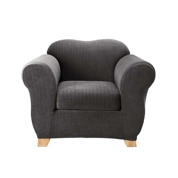 Stretch Pinstripe Box Cushion Armchair Slipcover by Sure Fit