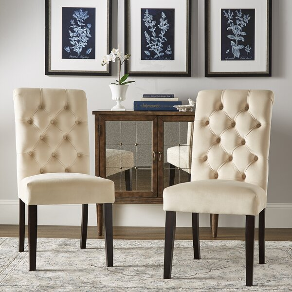 Ali Rolled Top Tufted Upholstered Dining Chair (Set of 2) by Lark Manor