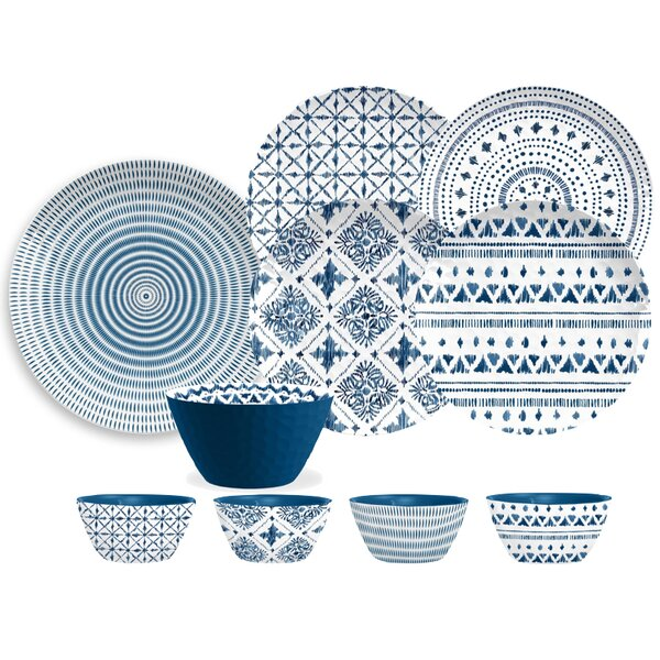 Indochina Ikat Melamine 16 Piece Dinnerware Set, Service for 4 by TarHong