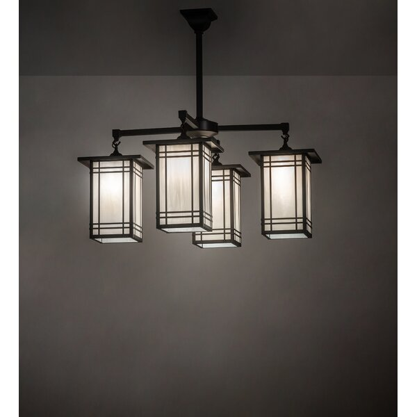 Prairie Mission 4-Light Shaded Rectangle / Square Chandelier By Meyda Tiffany