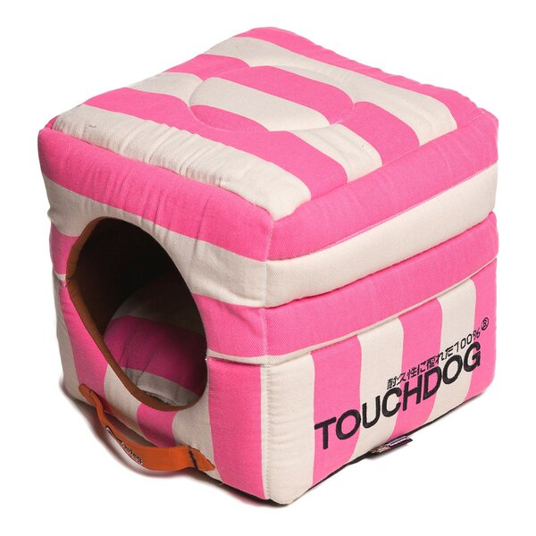 Polo-Striped Convertible and Reversible Squared 2-in-1 Collapsible Dog House Bed by Pet Life
