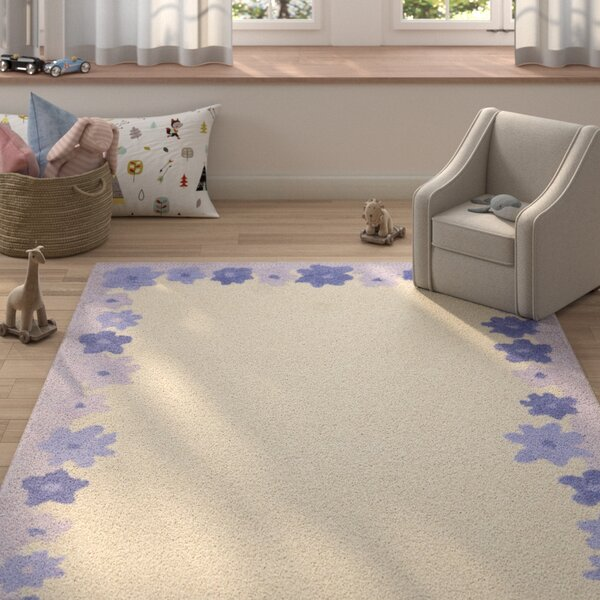 Claro Ivory / Lavender Kids Rug by Harriet Bee