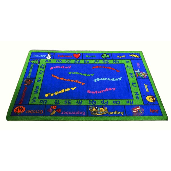 Calendar Blue Area Rug by Kids World Carpets