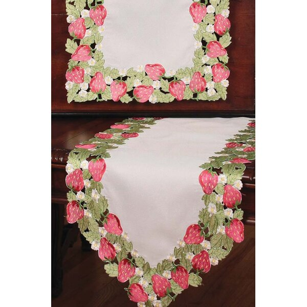 Strawberry Patch Embroidered Cutwork Table Runner by Xia Home Fashions