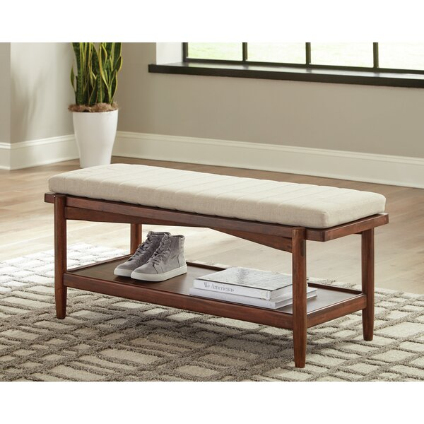 Cobbs 1-Shelf Bench Desert Teak And Beige By Corrigan Studio by Corrigan Studio Savings