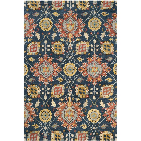 Baumgartner Hand-Tufted Navy/Orange/Yellow Area Rug by Darby Home Co