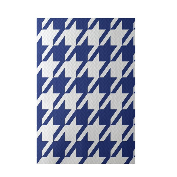 Geometric Royal Blue Indoor/Outdoor Area Rug by e by design