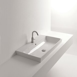 Reviews Normal Ceramic Rectangular Vessel Bathroom Sink with Overflow ByWS Bath Collections