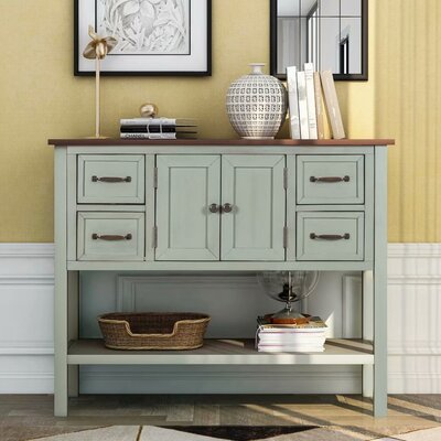 """Canora Grey Wentzville 43.3"""" Wide 4 Drawer Buffet Table  Color: Retro Blue"""