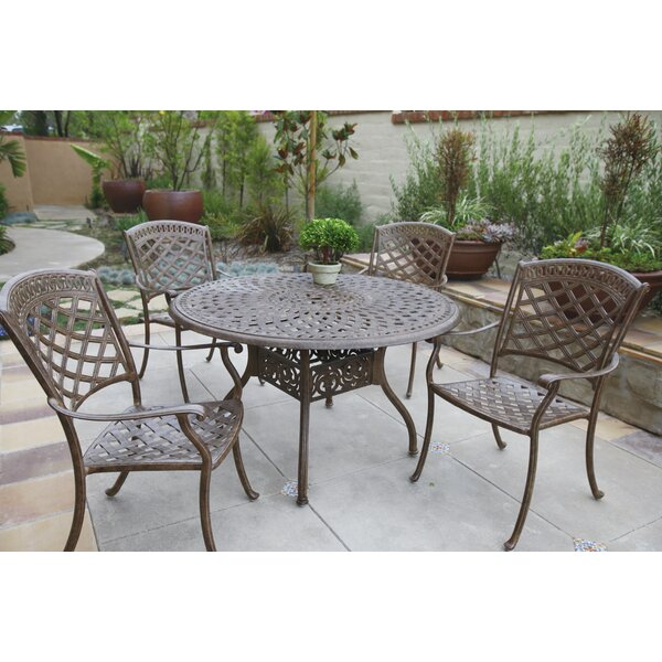 Thompson Traditional 5 Piece Dining Set with Cushions by Alcott Hill