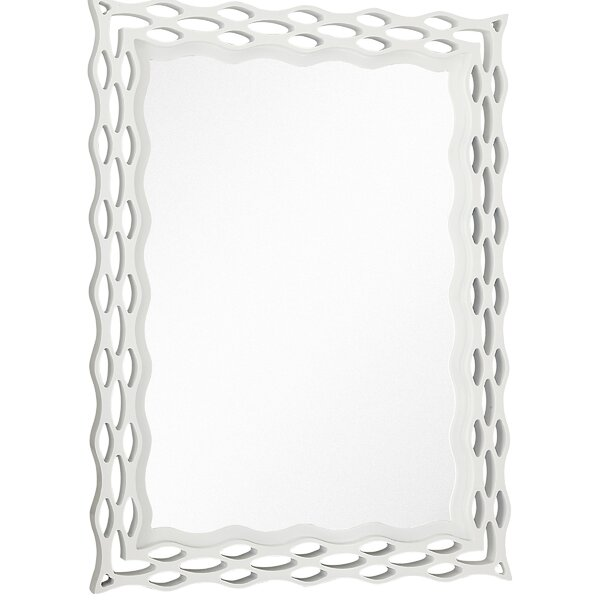 Modern Rectangular Semi-Gloss White Unique Hanging Glass Wall Mirror by Majestic Mirror
