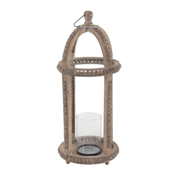 Rustic Cage Wood Lantern by Bungalow Rose