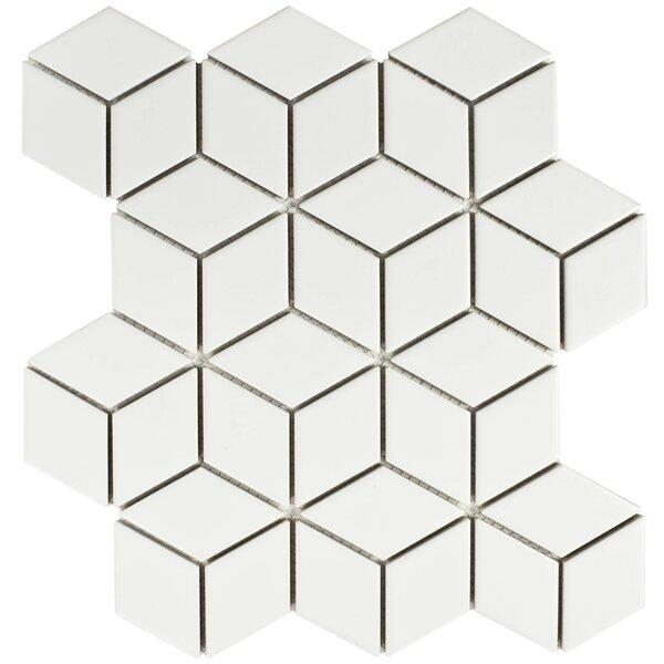 Retro Rhombus 1.88 x 3.18 Porcelain Mosaic Tile in Matte White by EliteTile