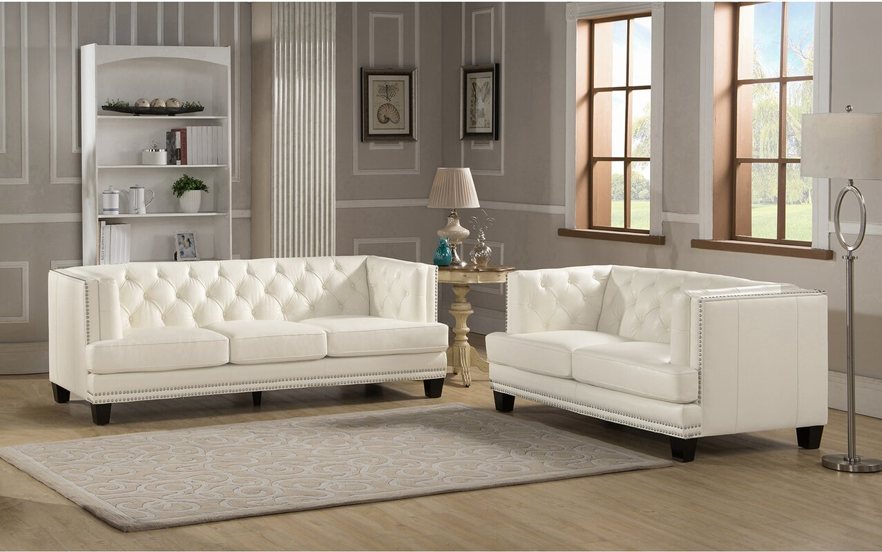 Amax newport 2 piece leather living room set reviews for Living room sets under 800