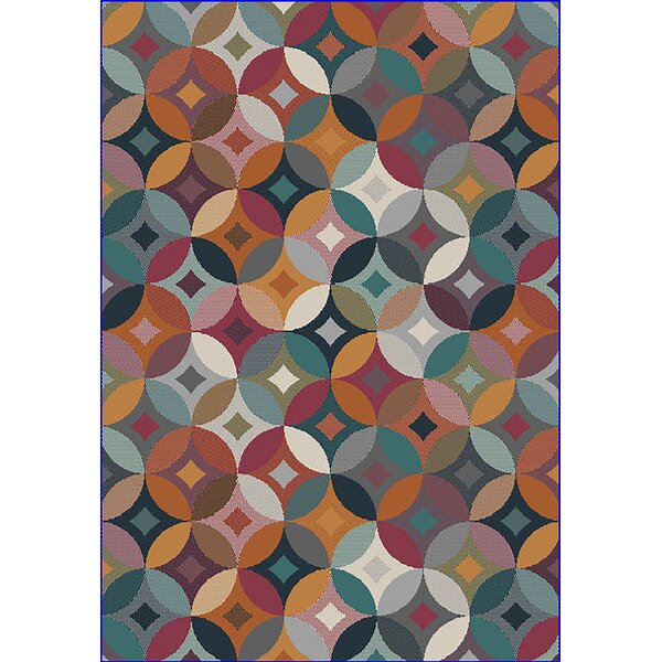 Eclipse 3D Modern Contemporary Green/Red/Blue Area Rug by Planet Rugs