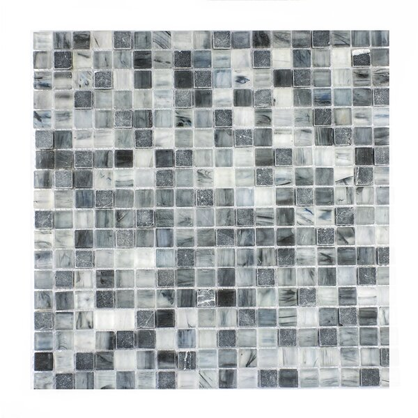 Piazza 0.5 x 0.5 Glass Mosaic Tile in Dark Blue/Gray by Byzantin Mosaic