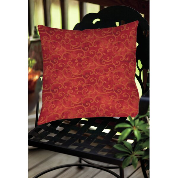 Zinnia Damask Indoor/Outdoor Throw Pillow by Manual Woodworkers & Weavers