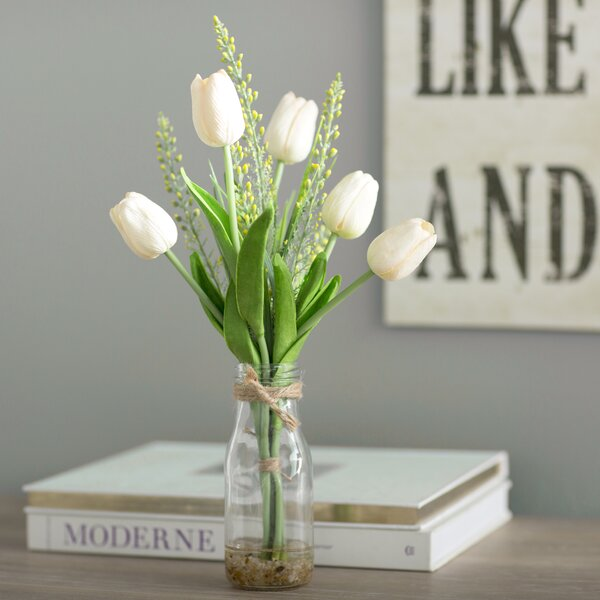 White Tulips in Glass Vase by Laurel Foundry Modern Farmhouse