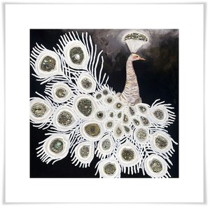 'White Peacock on Black' Acrylic Painting Print by Bungalow Rose