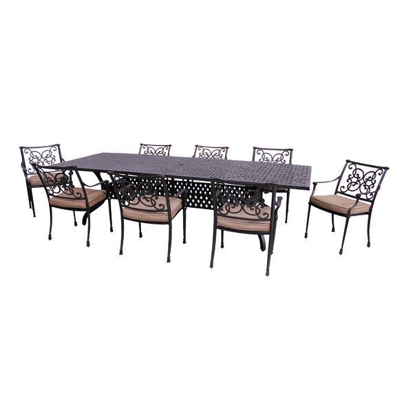 Elzada 9 Piece Sunbrella Dining Set with Cushions by Fleur De Lis Living