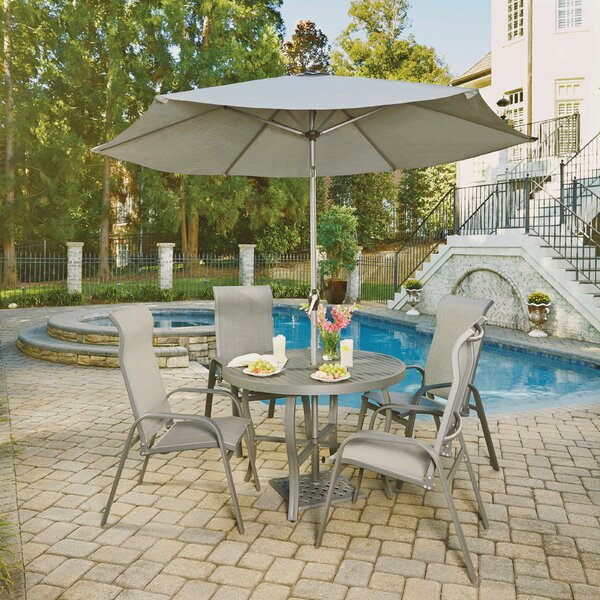 Dinapoli 5 Outdoor Piece Dining Set with Umbrella by Red Barrel Studio