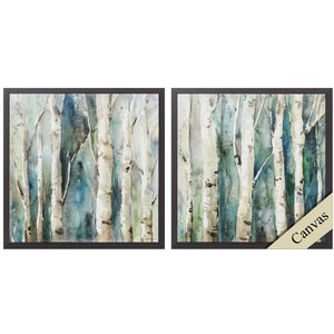 River Birch 2 Piece Framed Painting Print Set by Propac Images