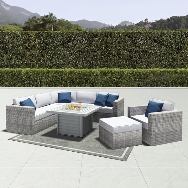 Damar 8 Piece Rattan Sectional Seating Group with Cushions by Latitude Run