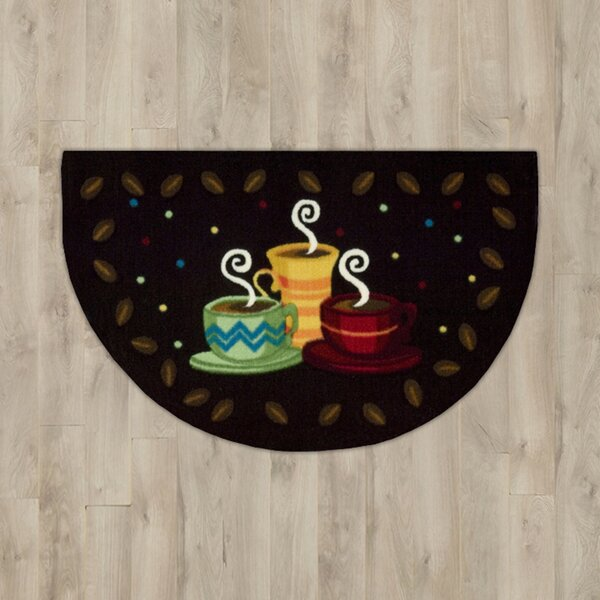 Greenmeadow Black Coffee Cups Entry Rug by Andover Mills