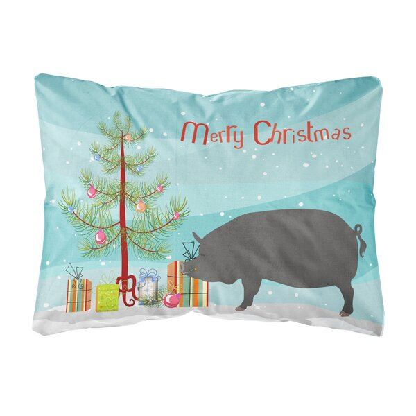 Oriole Berkshire Pig Christmas Fabric Indoor/Outdoor Throw Pillow by The Holiday Aisle