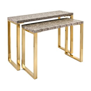 Turquoise Wood and Metal 2 Piece Console Table Set By Mercer41