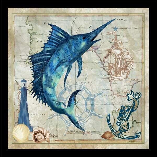 'Map Nautical Marlin' Framed Art Print - Framed Fish Wall Decor
