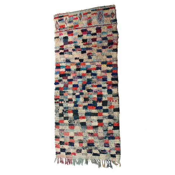 Boucherouite Azilal Hand-Woven Ivory/Navy Area Rug by Casablanca Market