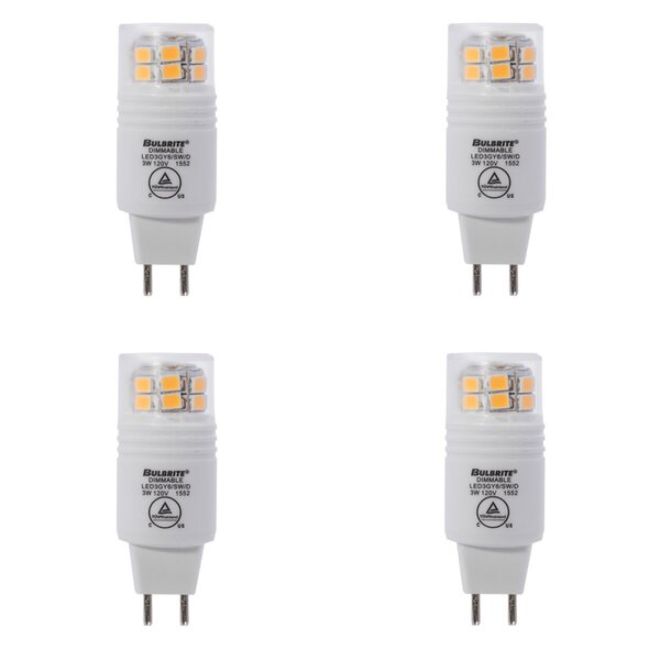 3W GY6 Dimmable LED Capsule Light Bulb (Set of 4) by Bulbrite Industries