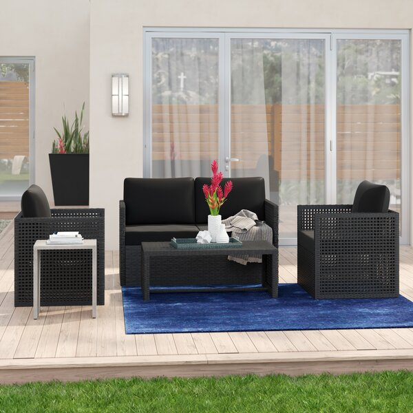 Silvestre 4 Piece Rattan Sofa Seating Group with Cushions by Wrought Studio