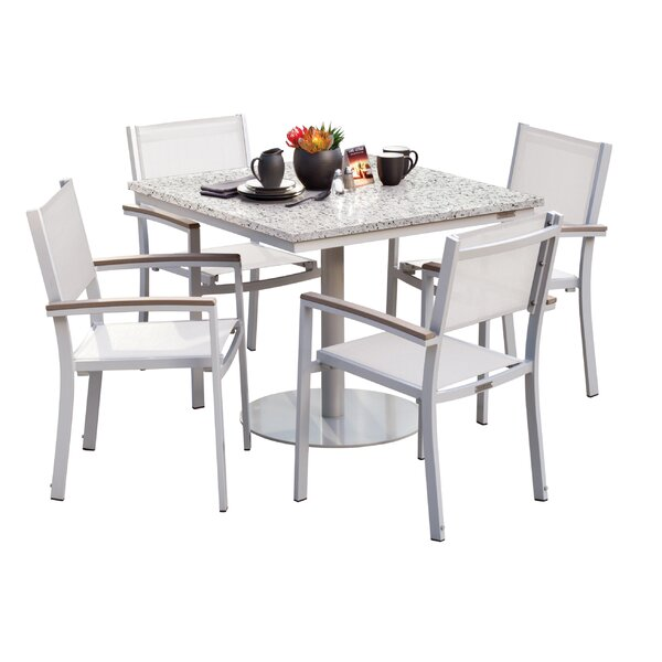 Farmington 5 Piece Dining Set with Sling Seat Chairs by Latitude Run