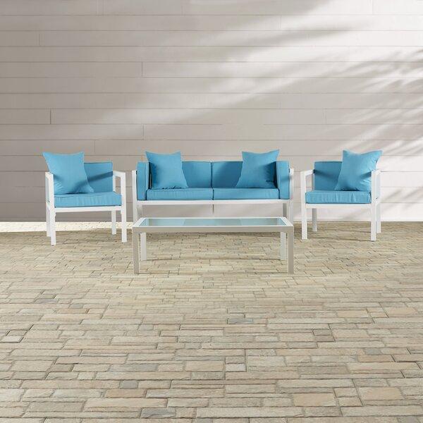 Arrandale 4 Piece Sofa Set with Cushions by Mercury Row