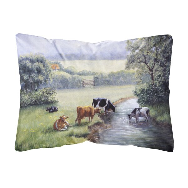 Sabb Cows Drinking at the Creek Bank Fabric Indoor/Outdoor Throw Pillow by Winston Porter