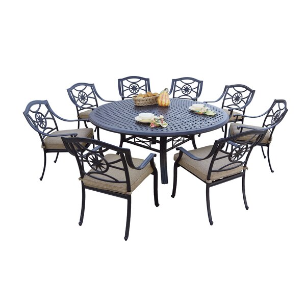 Thompsontown 9 Piece Dining Set with Cushions by Alcott Hill