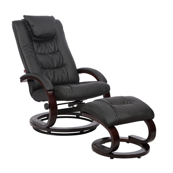 Belanger Faux Leather Manual Swivel Recliner with Ottoman W001304449