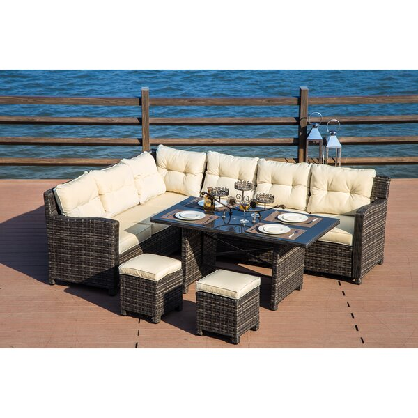 Vanhoy 5 Piece Rattan Sofa Seating Group with Cushions by Brayden Studio