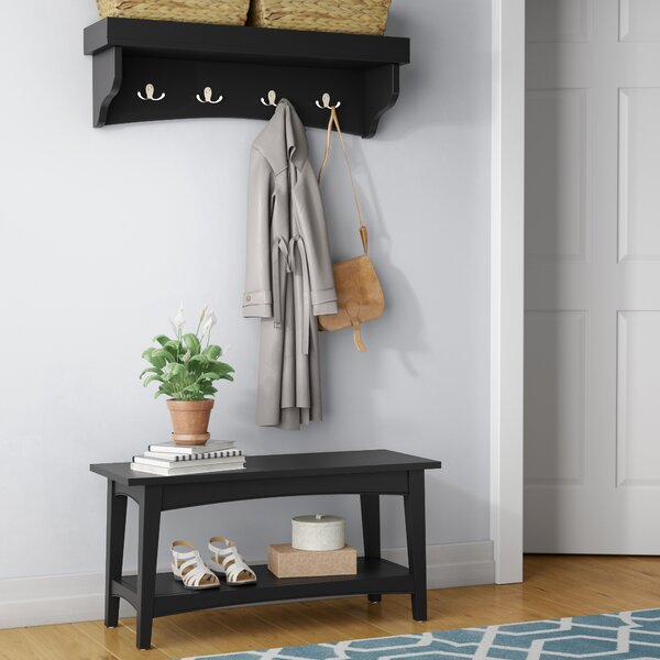 Round Hill Hall Tree Coat Hook and Bench Set by Three Posts