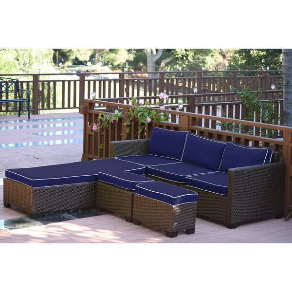 Hermann 5 Piece Rattan Sectional Seating Group with Cushions by Bay Isle Home