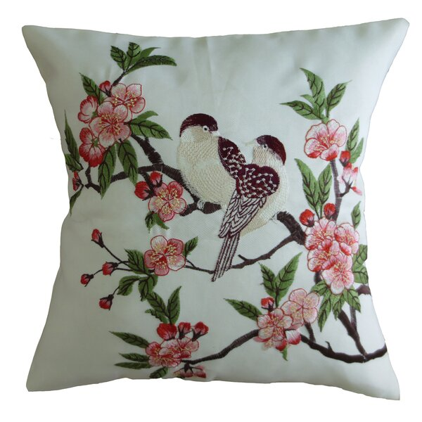 Mante Carlo Decorative Embroidered Bird Design Fine Burlap Throw Pillow by Violet Linen